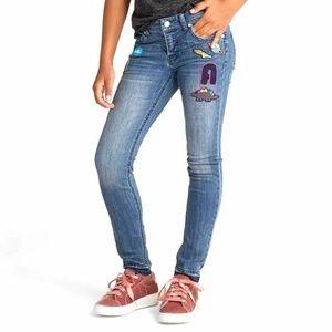 Cat & Jack Blue Patchwork Raw Hem Skinny Jeans